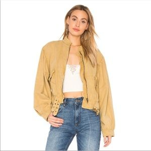 NWT Free People Poet Blouson Jacket in Fawn S